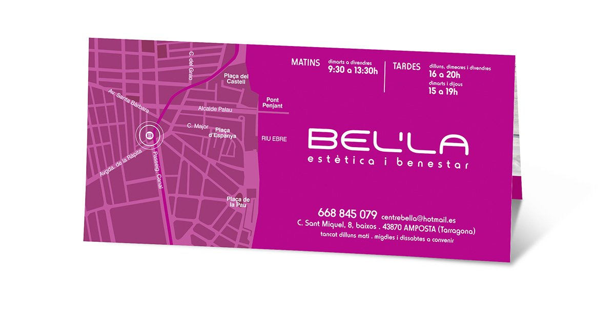 Díptic publicitari Bel'la (vista posterior)