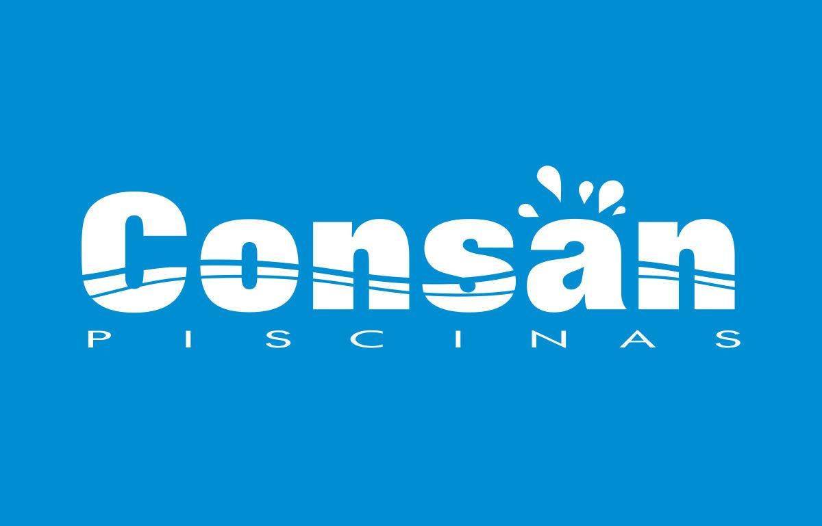 Logotip 2002 fons blau Consan Piscinas