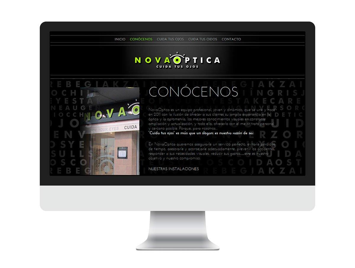 Pàgina Web interior mockup imac Nova Optica